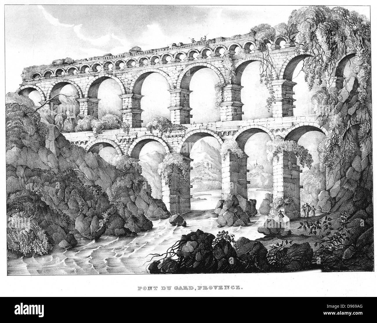 Pont du Gard, Nimes, southern France. Roman aqueduct built c18 BC. No cement used. 19th century lithograph. - Stock Image