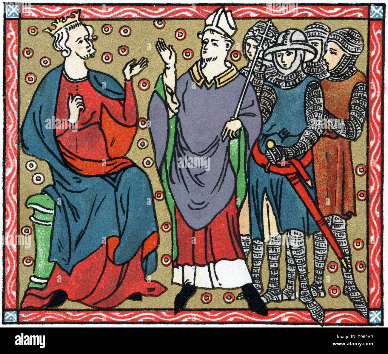 Henry II (1133-1189) King of England from 1154: Henry disputing with Thomas a Becket (1118-1170) Archbishop of Canterbury. - Stock Image