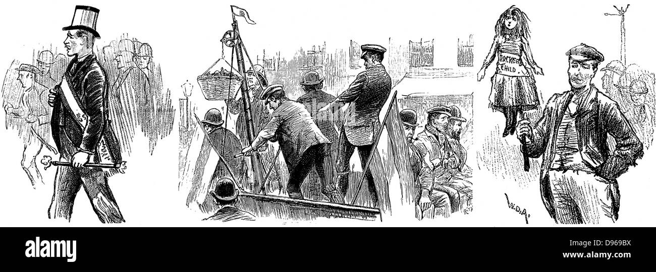 London Dockers' Strike, September 1889. Among the aims was establishment of minimum wage of 6d (2.5 pence per - Stock Image