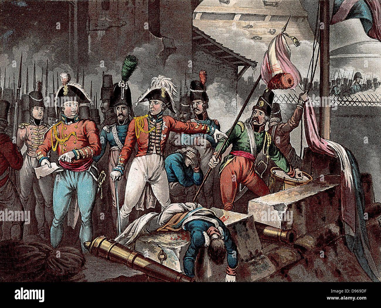 Peninsular War: Duke of Wellington (Arthur Wellesley 1769-1852) at the taking of Ciudad Rodrigo 1812.  Drawn and - Stock Image