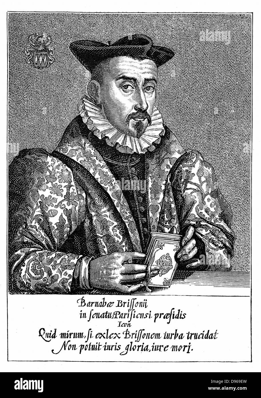 Barnabe Brisson (1531-91) French philologist and jurist. President of Parliament (Parlement) of Paris 1588. Executed - Stock Image