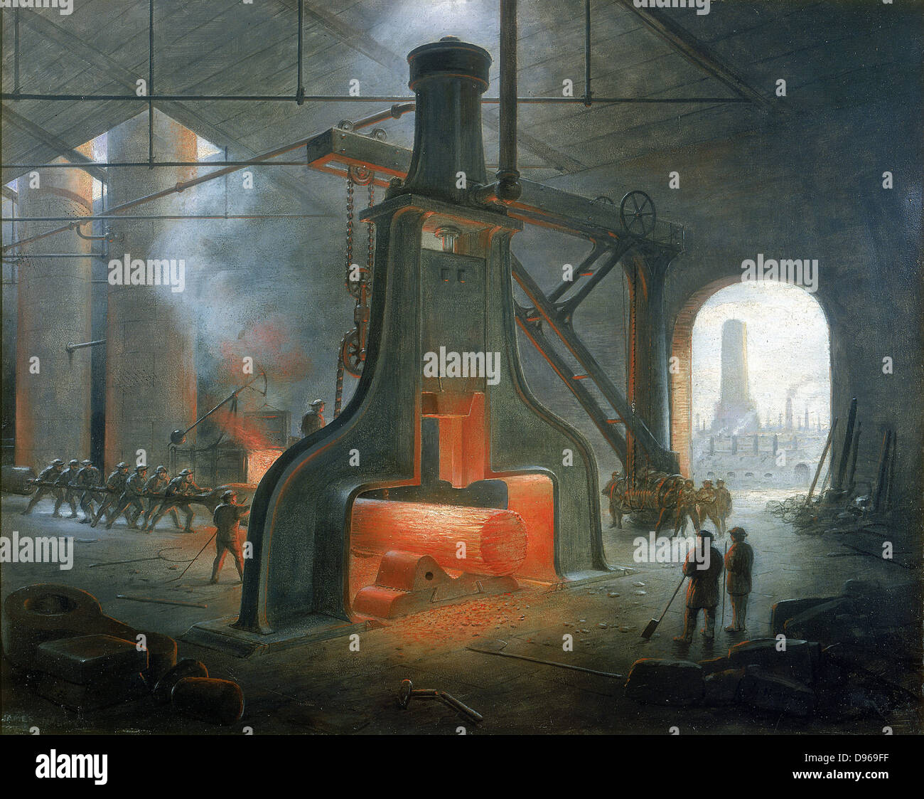 James Nasmyth's steam hammer erected in his foundry near Manchester in 1832. Painting by Nasmyth. Stock Photo