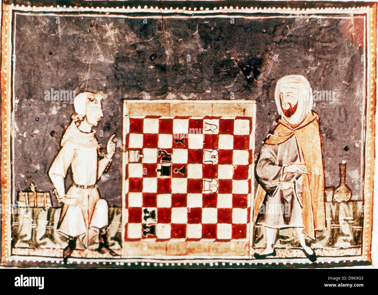 Game of Chess between a Crusader and a Saracen. From Spanish manuscript of a treatise on chess by Alfonso X, the - Stock Image