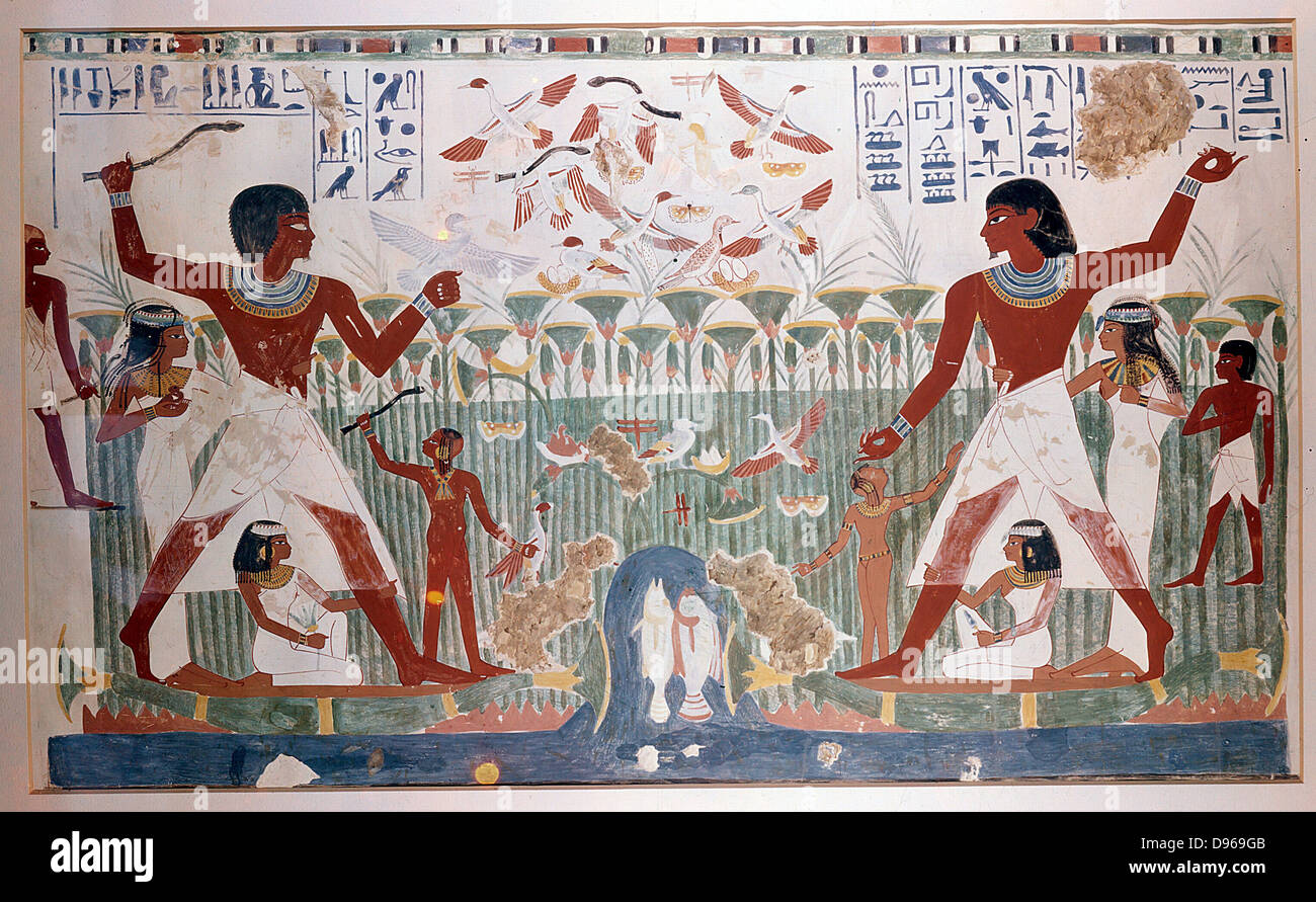 Ancient Egyptians hunting wildfowl with throwing sticks. Picture shows Papyrus reed bed with fish and numerous birds - Stock Image