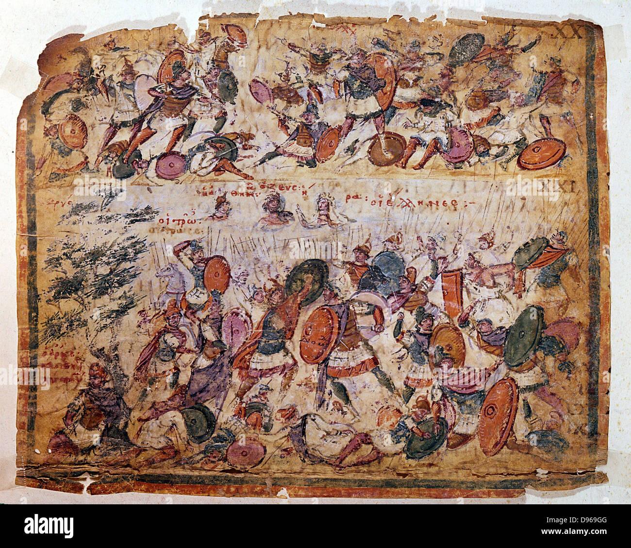 Battle scene from a manuscript of Homer 'Iliad' c300 AD. Biblioteca Ambrosiana Milan. - Stock Image