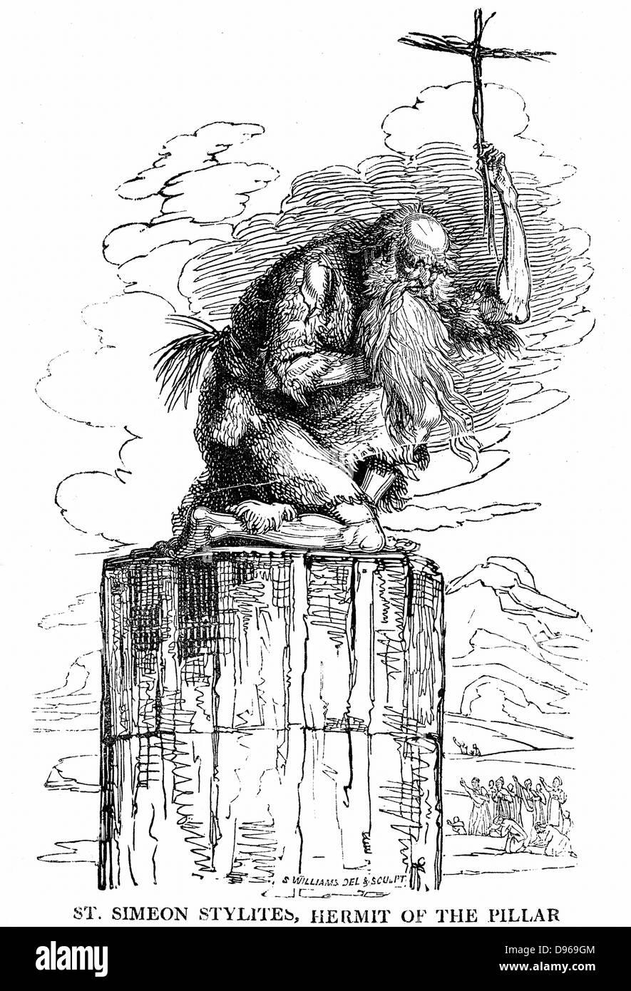 St Simeon (Simon) Stylites (387-459) Hermit of the Pillar.  Syrian pillar-saint. 7 years self-imposed solitude in - Stock Image