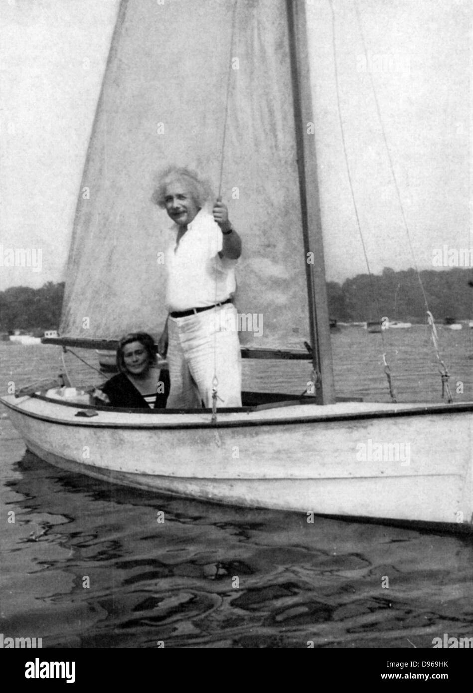 Albert Einstein (1879-1955) German-Swiss mathematician. Einstein sailing. Stock Photo