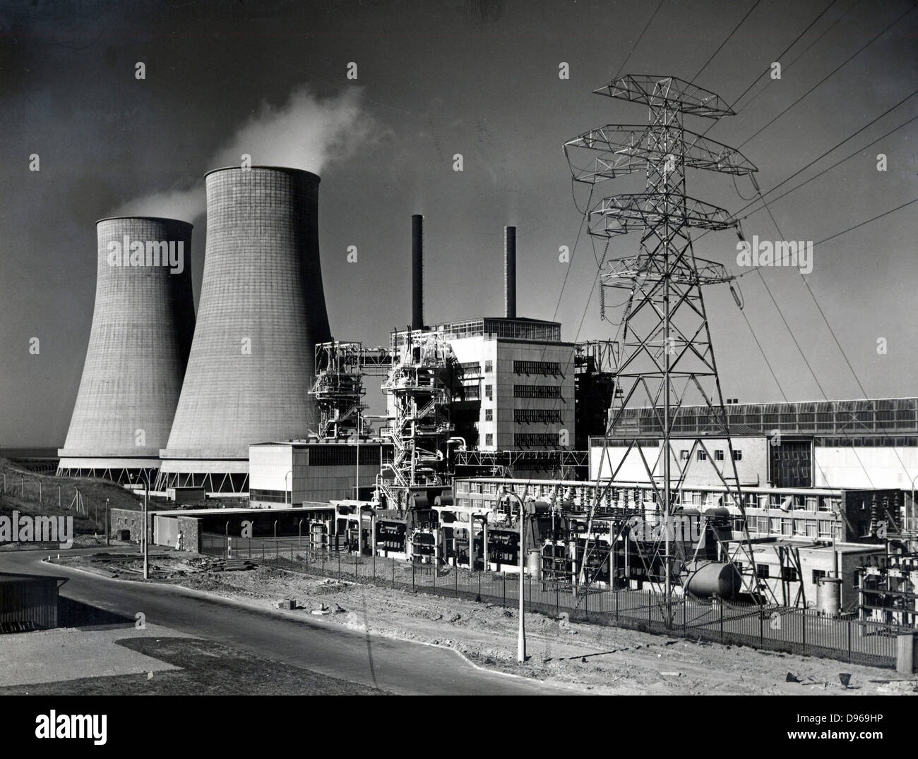 Calder Hall, Cumberland, England, the world's first full scale nuclear power station opened 17 October 1976. - Stock Image