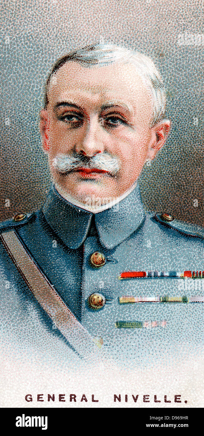 Robert Nivelle (1857-1924) French general. Commander-in-Chief  December 1916 to May 1917: superseded by Petain. - Stock Image