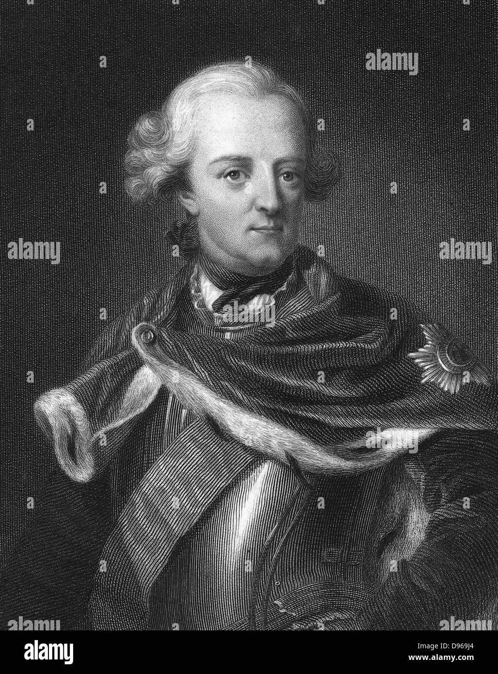 Frederick II, The Great (1712-1786) King of Prussia from 1740. Engraving - Stock Image