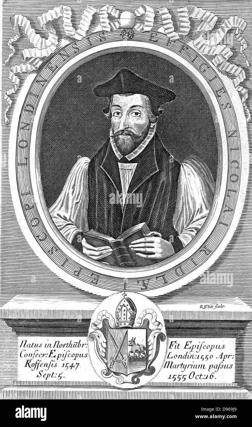 Nicholas Ridley (c1500-55), Bishop of London 1550: English Protestant reformer and martyr burnt with Latimer in - Stock Image