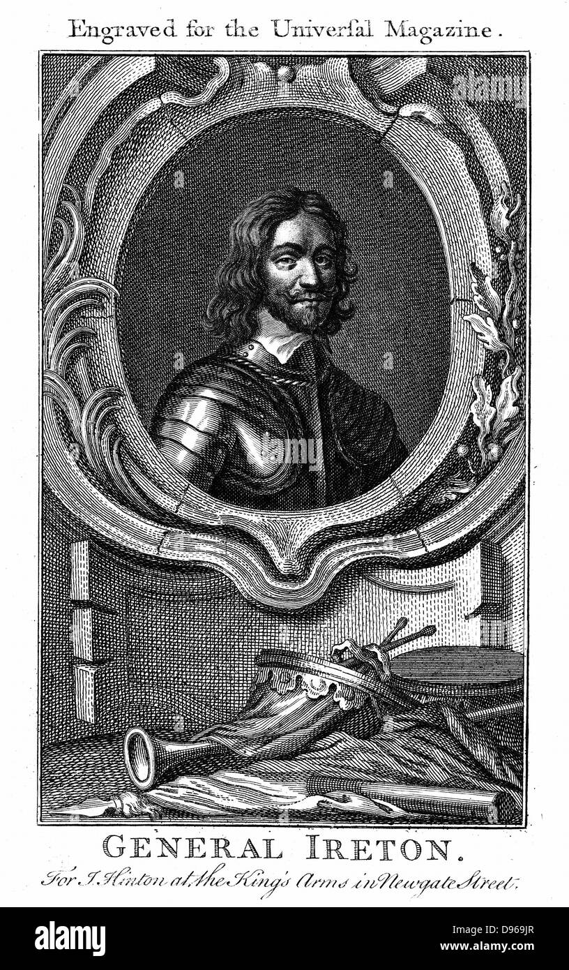 Henry Ireton (1611-51)  English Parliamentary commander. Son-in-law of Oliver Cromwell. Copperplate engraving. - Stock Image