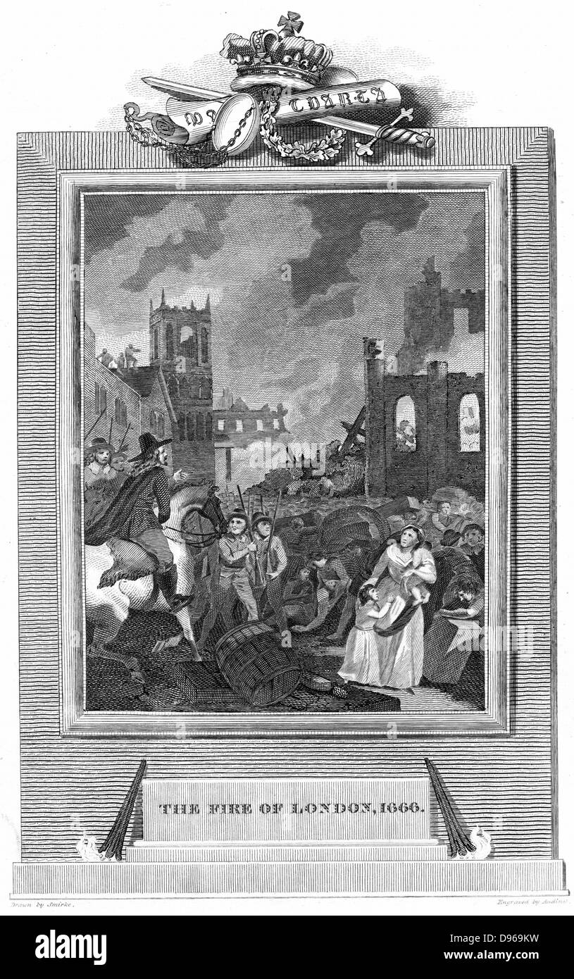 Fire of London - 1666.  Charles II and Duke of York's party examining the scene. Copperplate. engraving 1825 - Stock Image