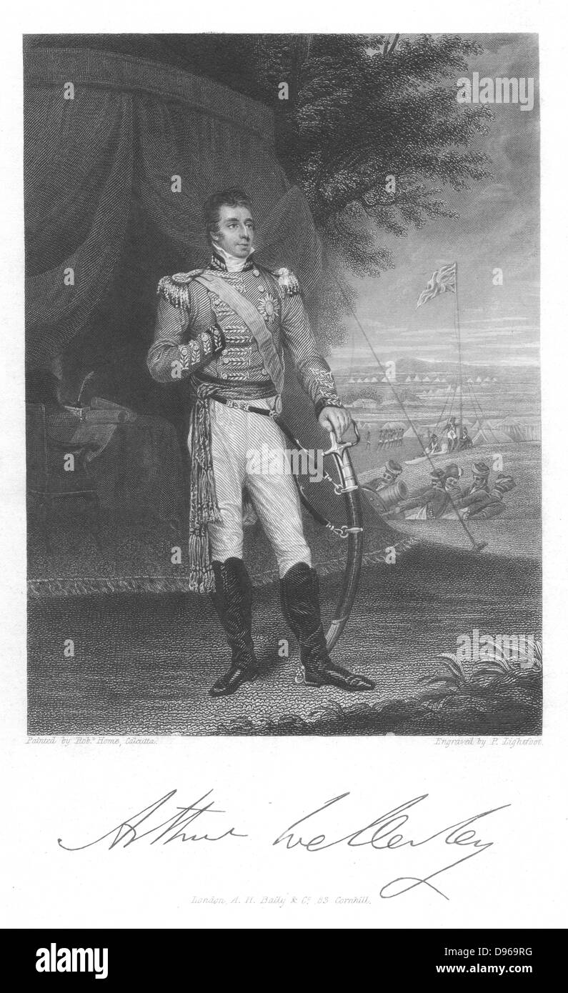 Arthur Wellesley, Duke of Wellington (1769-1852) English soldier and stateman, while serving in India. Engraving - Stock Image