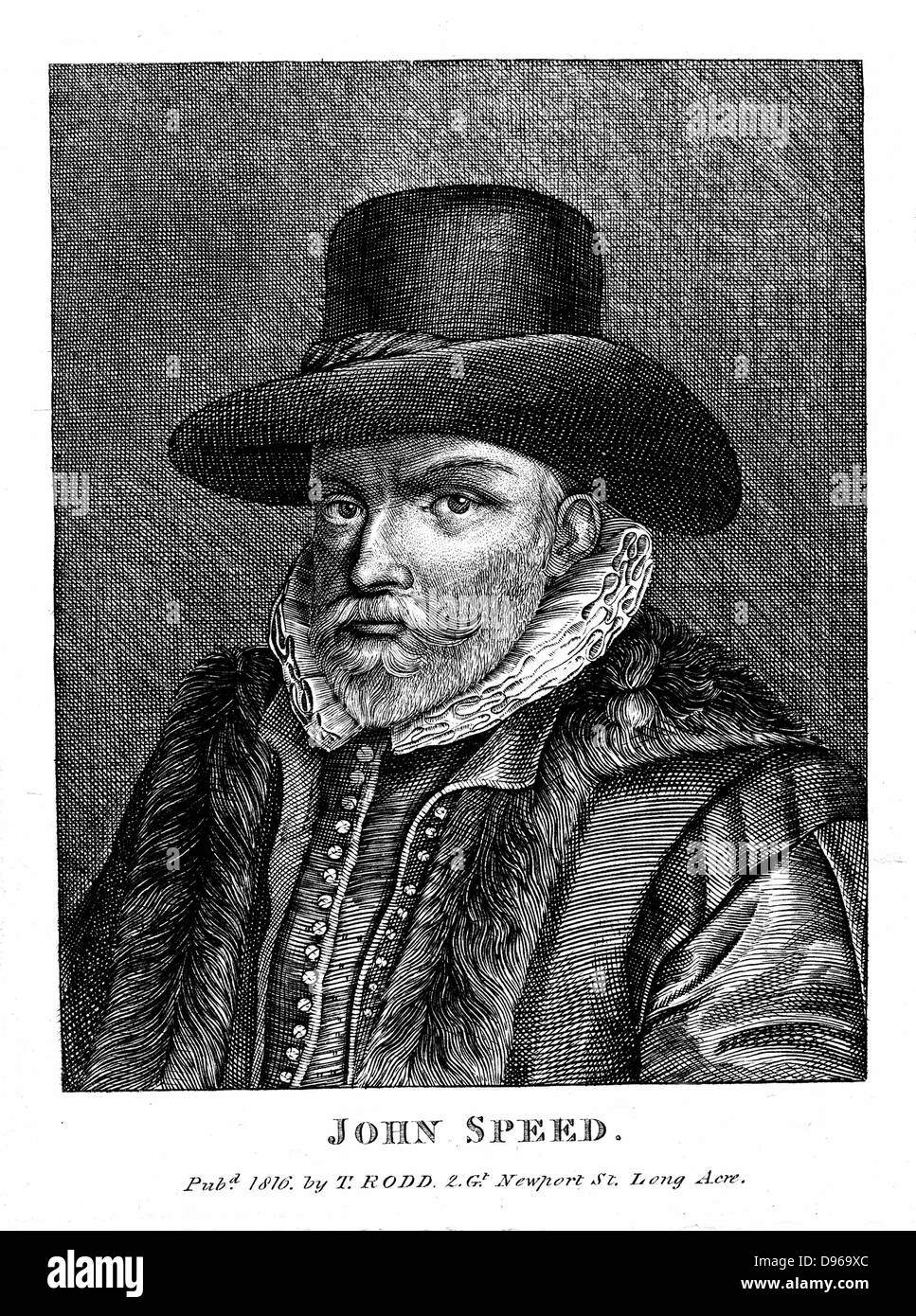 John Speed (1542-1629) English cartographer and historian. Engraving - Stock Image