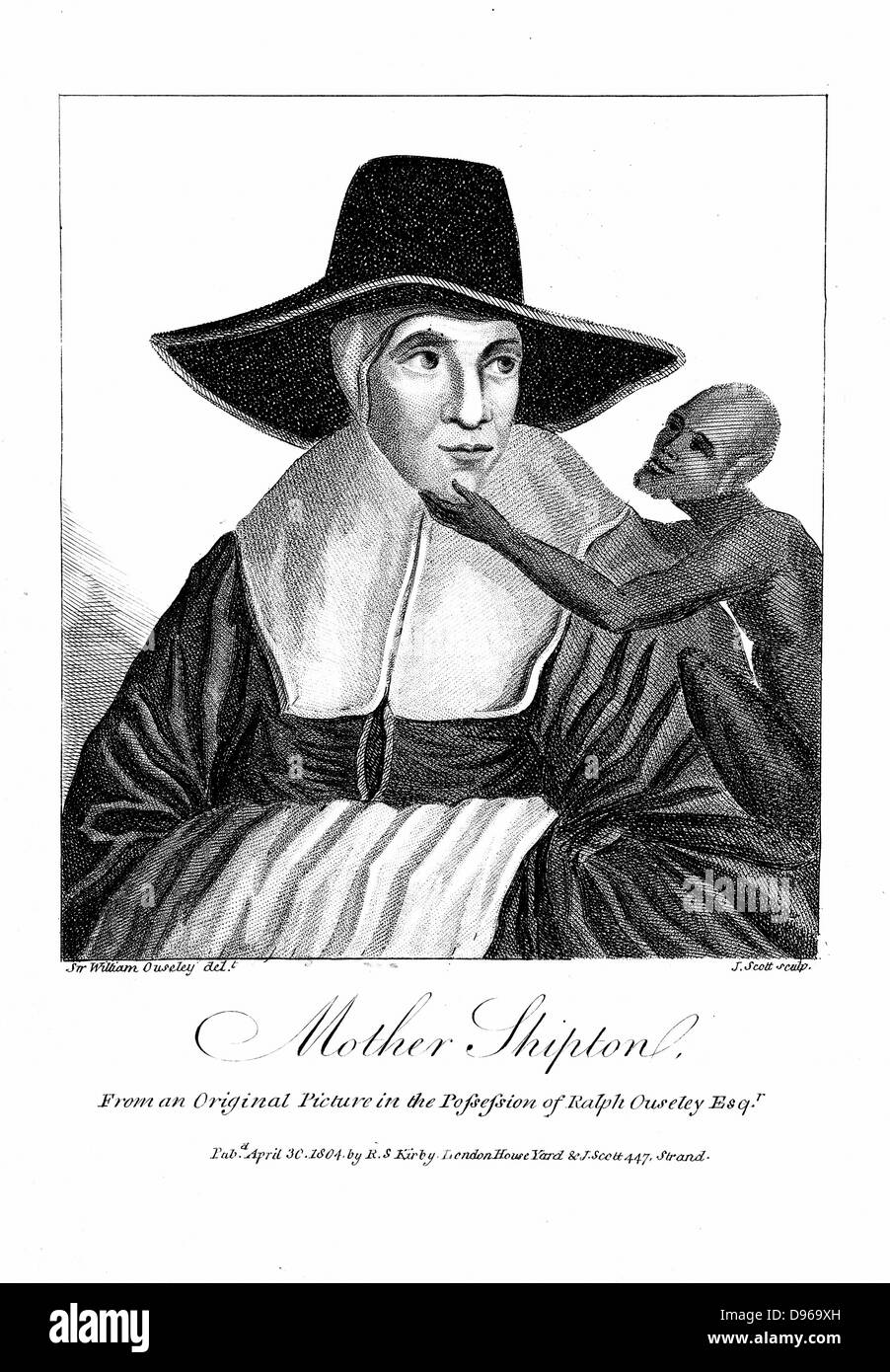 Mother Shipton (1488-c1560) English witch and prophetess, first mentioned in 1641. Here with her familiar, a monkey. - Stock Image
