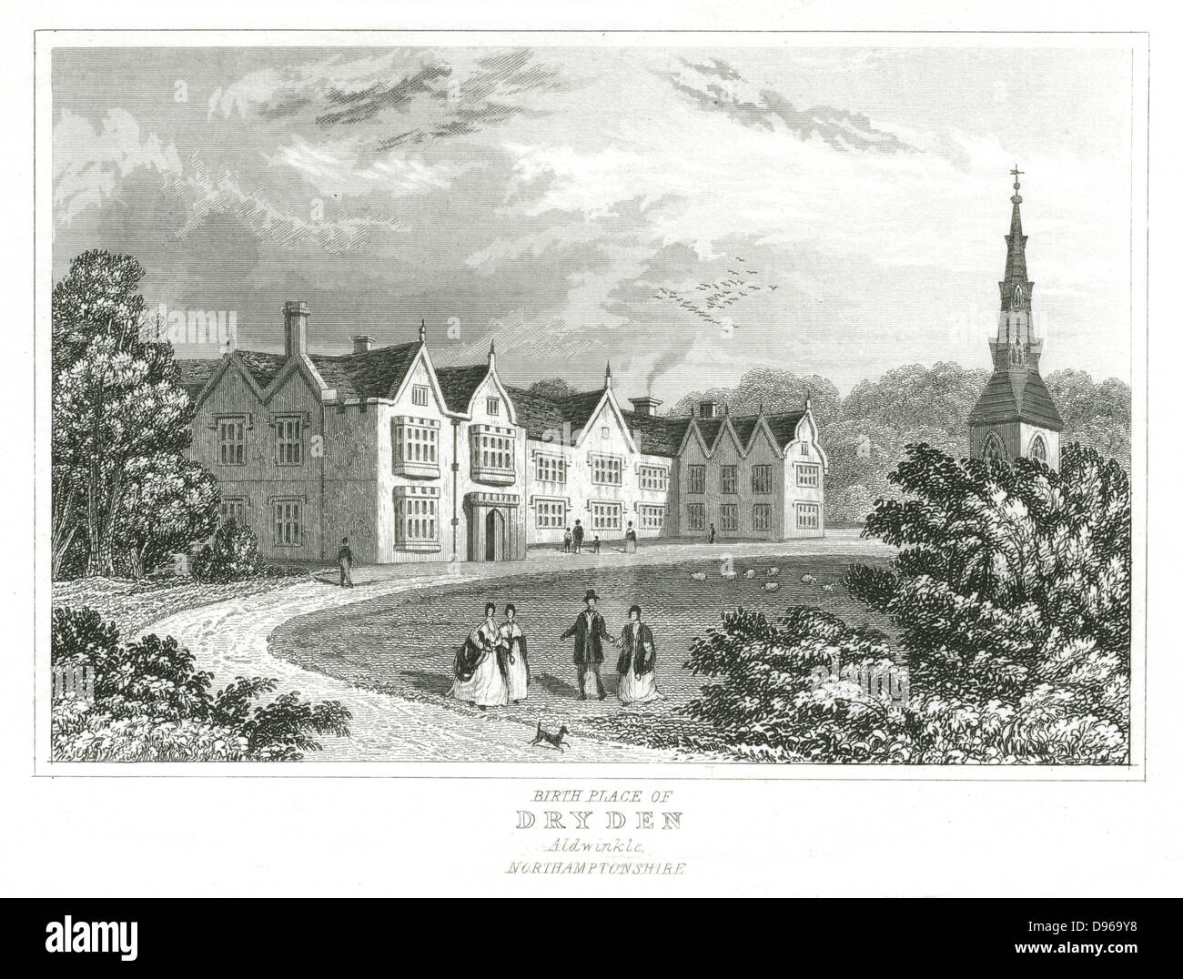 John Dryden (1631-1700)  English poet. Dryden's birthplace at Aldwinkle, Northamptonshire. Engraving - Stock Image