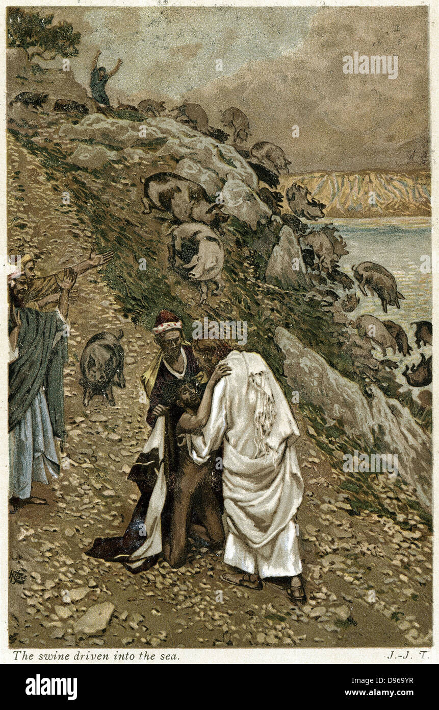 Jesus casting devils out of kneeling man, and putting them into Gaderine Swine who plunge over the cliff as if possessed. - Stock Image