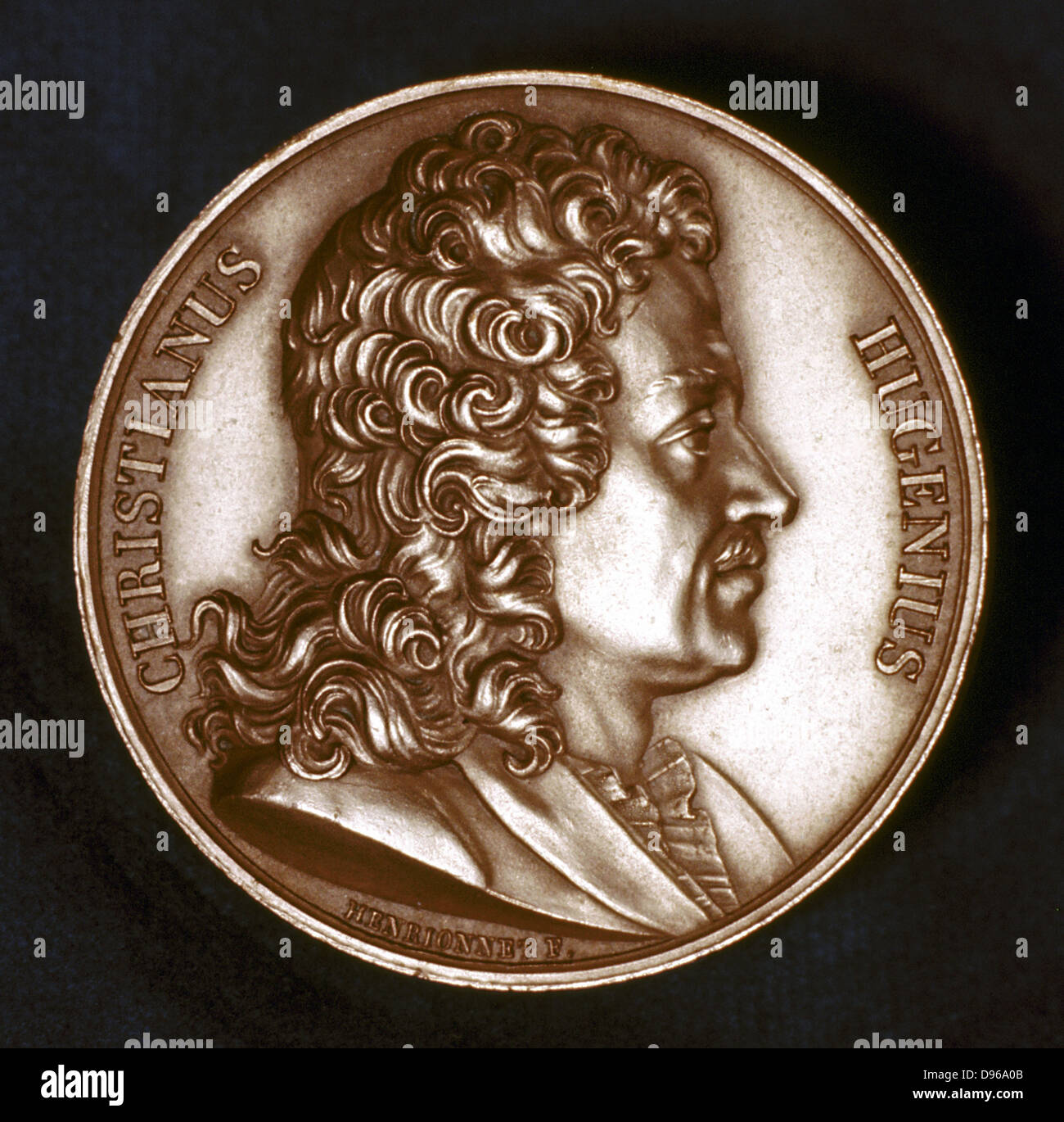 Christiaan Huyghens (1629-95) Dutch physicist. Pendulum clock: Wave theory of light. Portrait from obverse of commemorative - Stock Image