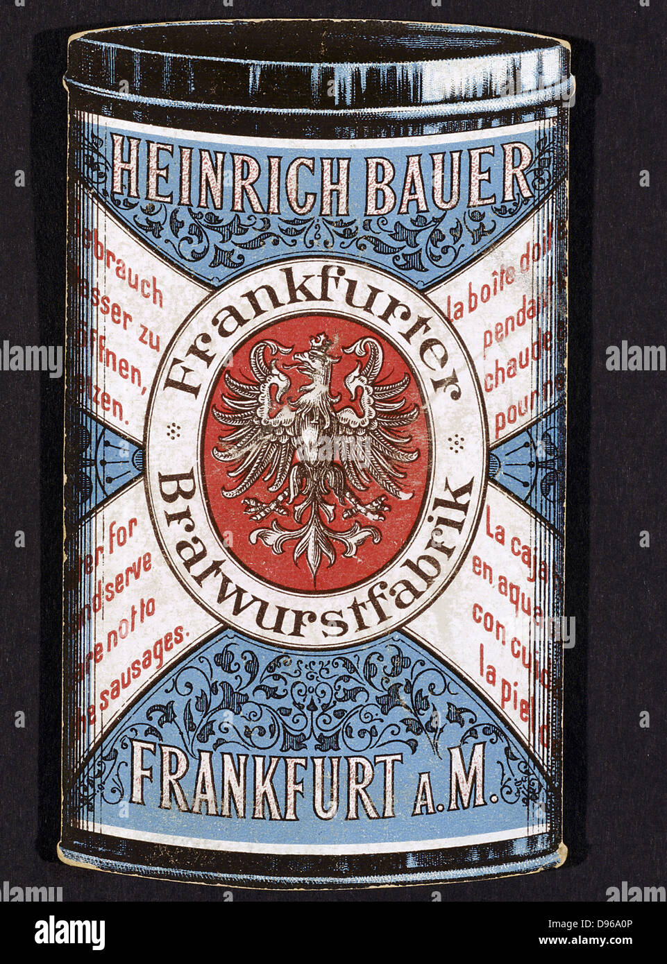 Obverse of trade card for tinned Frankfurters produced by Heinrich Bauer of Frankfurt am Main. Germany, c1895. - Stock Image