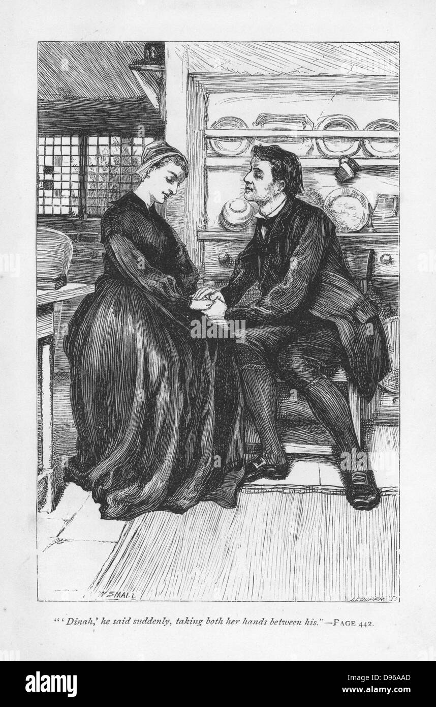 After the trials and tribulations of the story Adam Bede declares his love to Dinah Morris, the Methodist preacher. - Stock Image