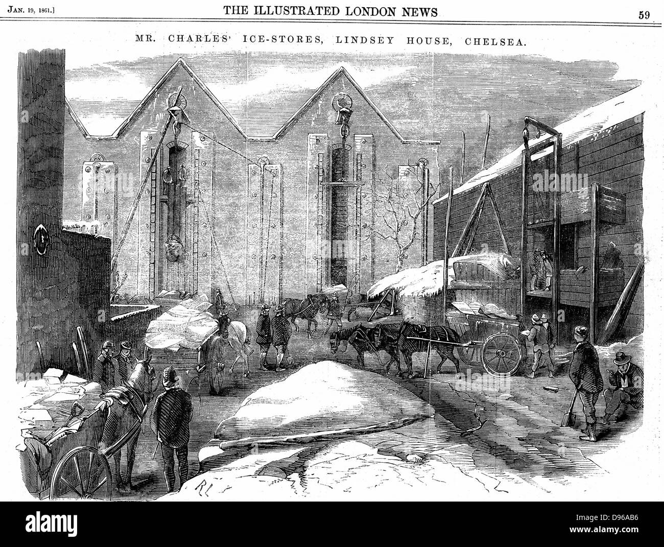 Ice being stacked in insulated warehouses in January to be stored for summer use. Charles's Ice Store, Chelsea, - Stock Image