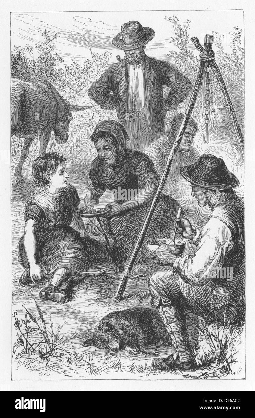 Maggie Tulliver, having cut off her hair and run away from home, is offered a share of the gypsies' stew.  Illustration - Stock Image