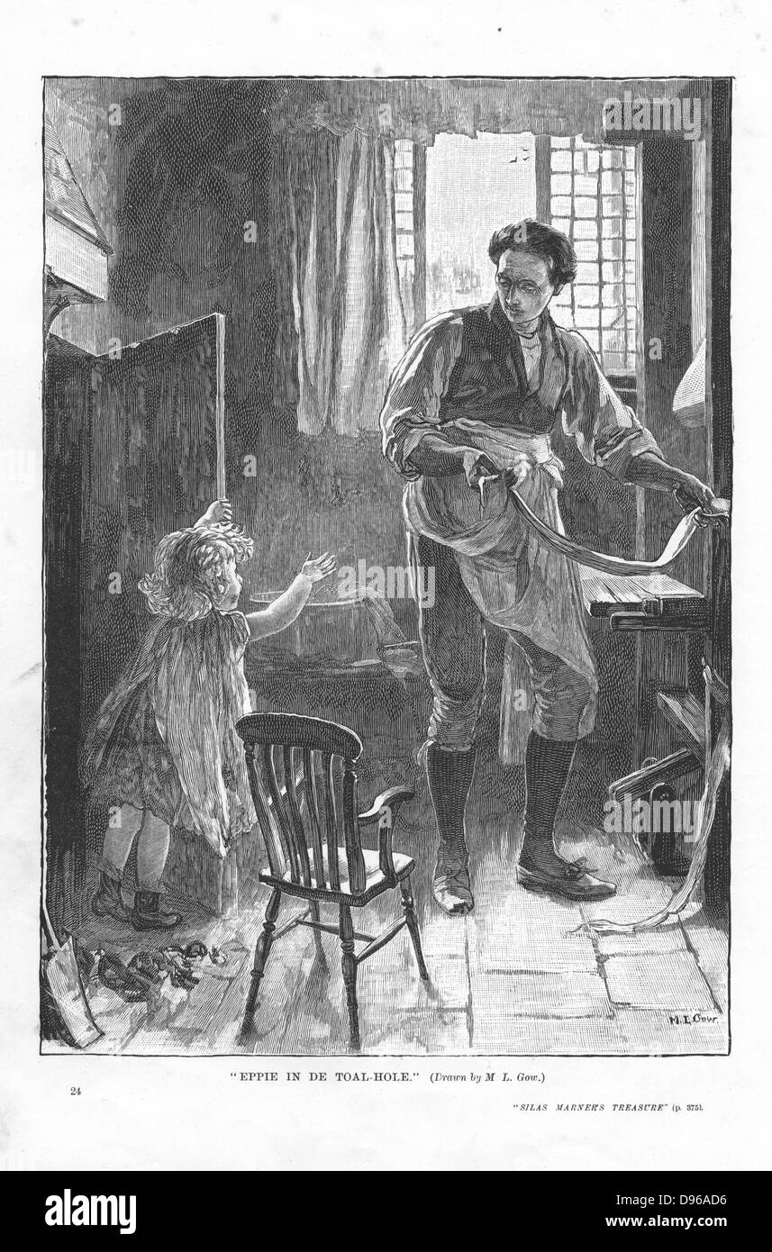 Silas Marner  George Eliot, 1861. Silas Marner defeated in his attempt to discipline Eppie (aged 3) by shutting - Stock Image
