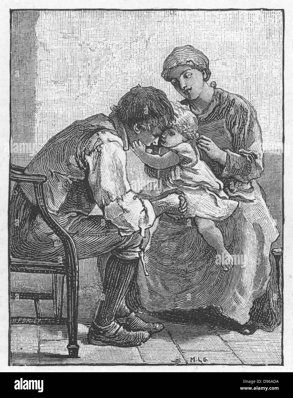 Silas Marner'  by George Eliot, 1861. Eppie the orphan, showing Silas Marner, the weaver, how much she likes - Stock Image