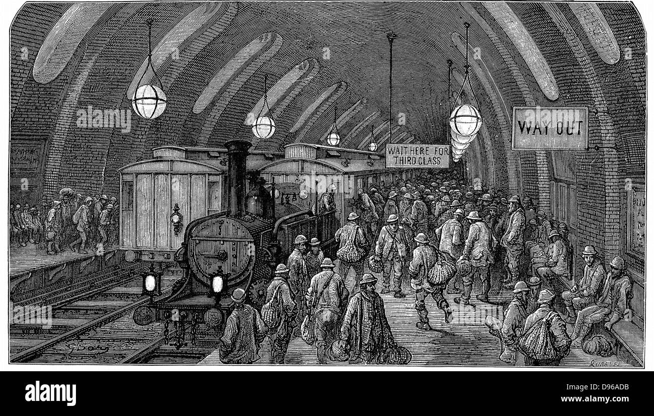 The Workmen's Train'. From Gustave Dore and Blanchard Jerrold 'London: A Pilgrimage' London 1872. This picture shows Stock Photo