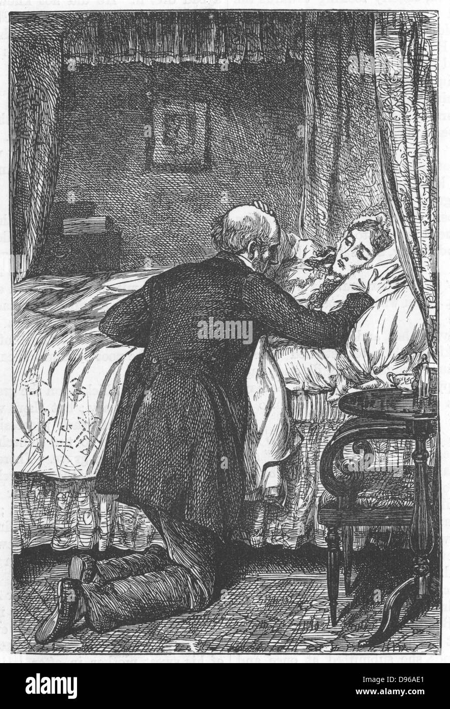Amos Barton at his wife's deathbed. Illustration by Robert Barnes for George Eliot 'Scenes of Clerical Life', - Stock Image