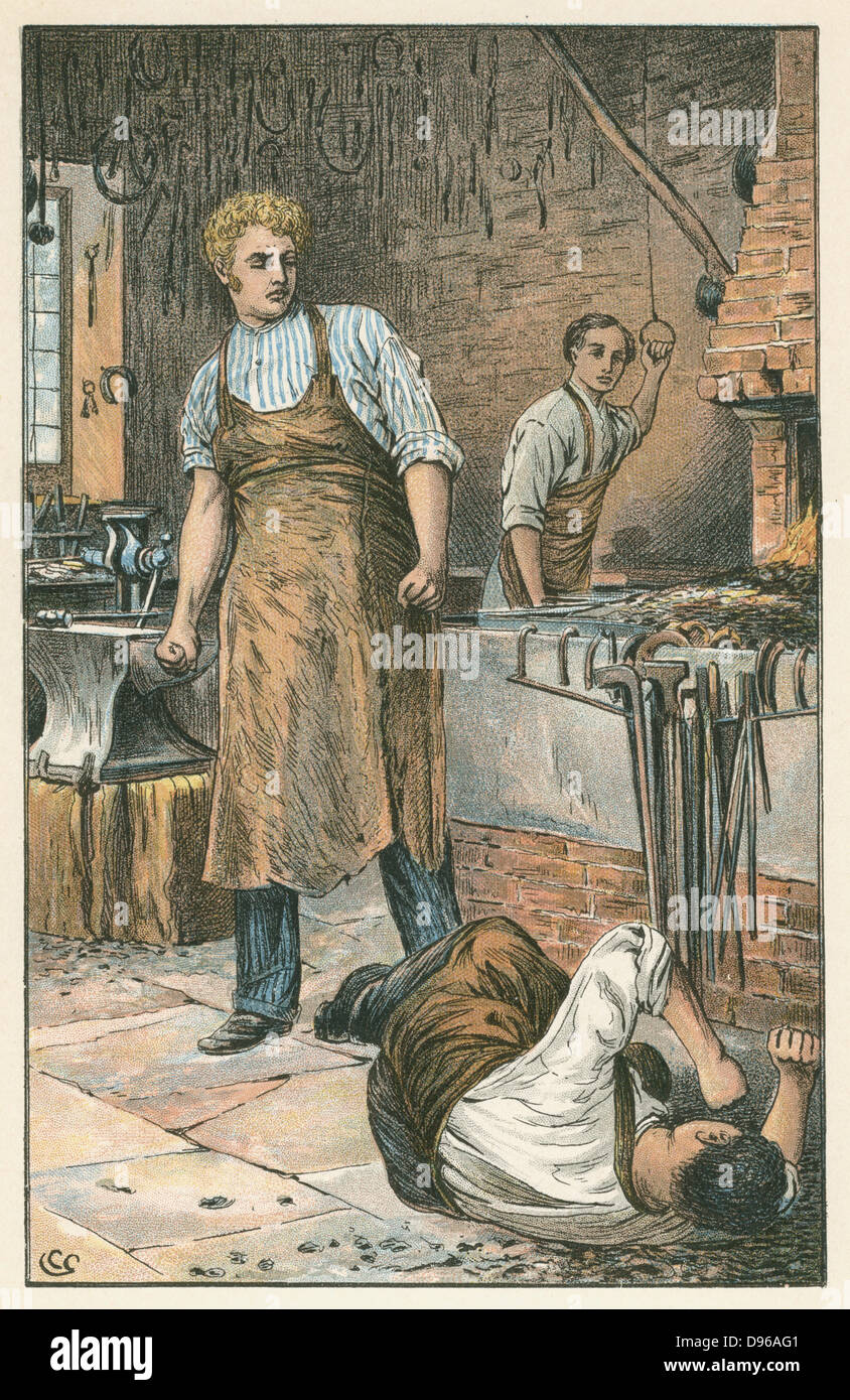 Joe Gargery, the gentle giant, provoked to violence in his smithy. In the background his brother-in-law Philip Pirrip - Stock Image