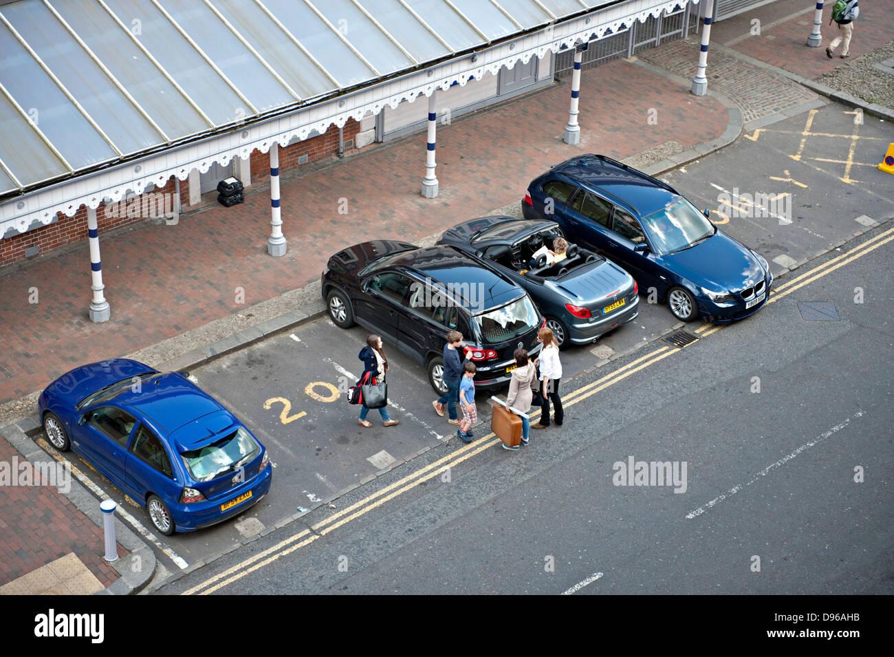 Car parking outside Tunbridge Wells Railway Station, Kent, UK - Stock Image