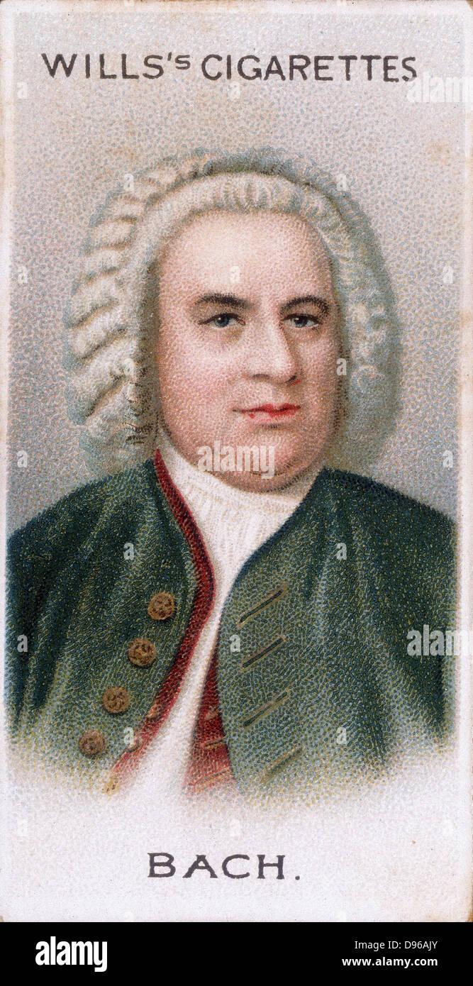 Johann Sebastian BACH (1685-1750) German composer and organist. Chromolithograph card 1912 - Stock Image