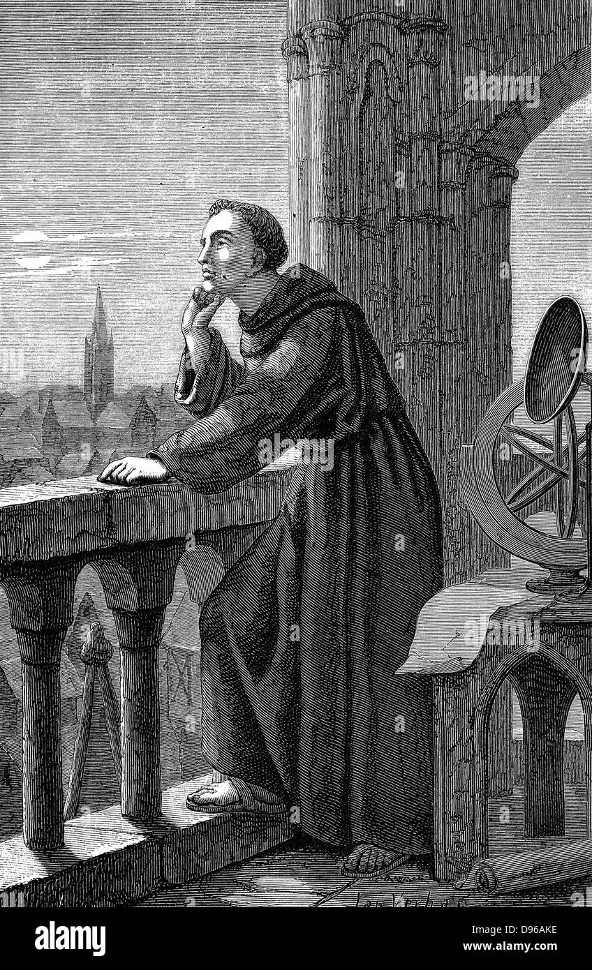 Roger Bacon (c1214-92) English experimental scientist, philosopher and Franciscan (Grey Friar); called 'Doctor - Stock Image