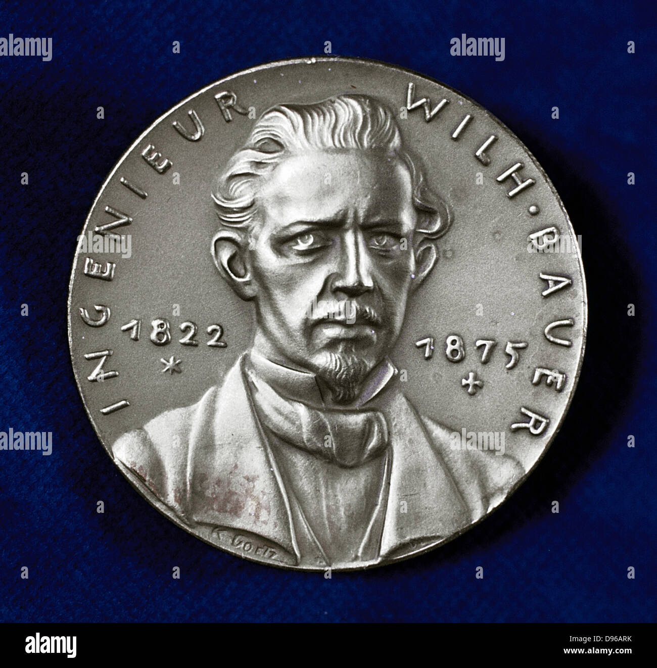 (Sebastian) Wilhelm (Valentin) Bauer (1822-1875) German inventor and pioneer builder of submarines. Obverse of commemorative - Stock Image