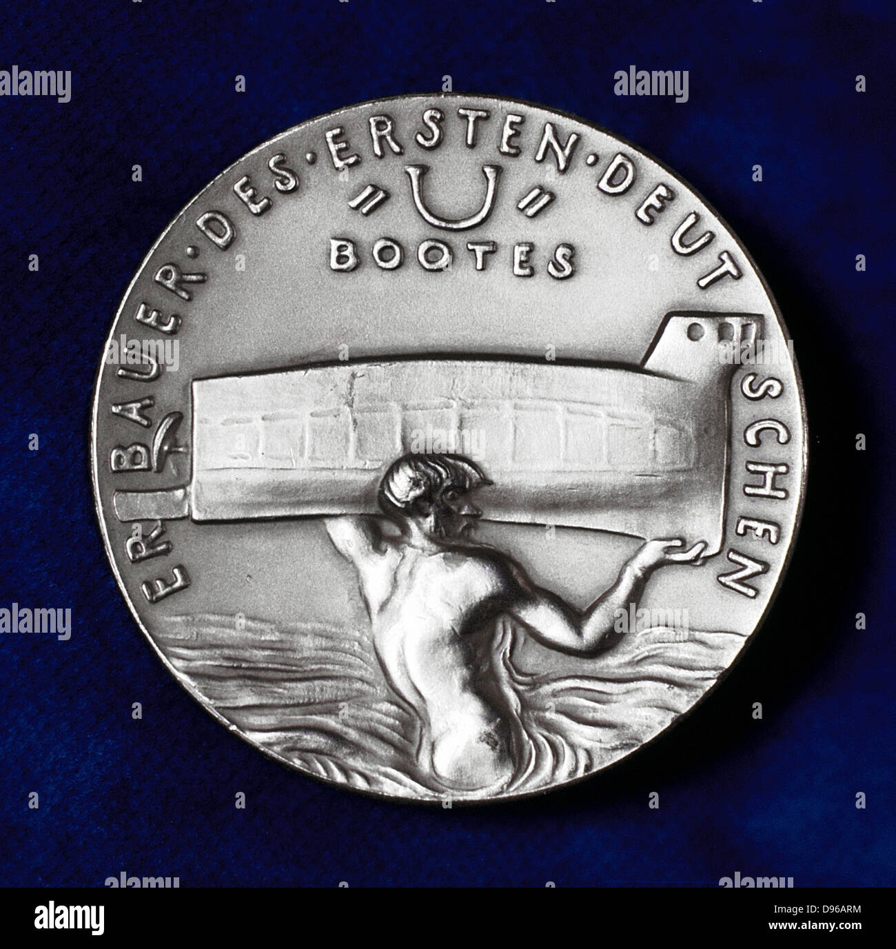 (Sebastian) Wilhelm (Valentin) Bauer (1822-1875) German inventor and pioneer builder of submarines. Reverse of commemorative - Stock Image