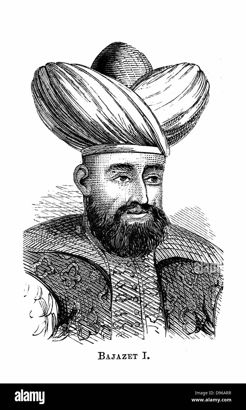 Bayezid I (1347-1403) Sultan of Ottoman empire from 1389-1402; defeated by Tamerlane (Timur) 1402. Wood engraving. - Stock Image