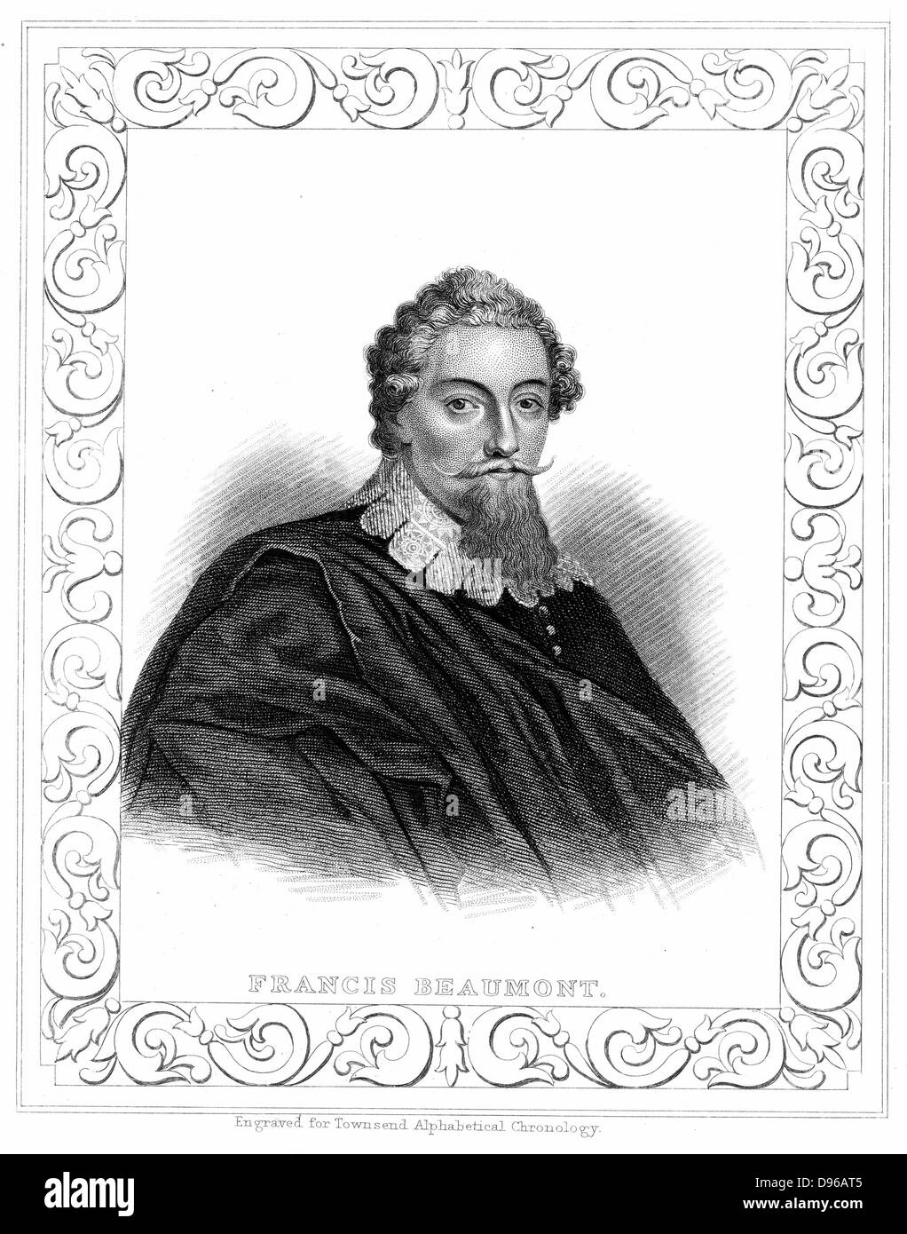 Francis Beaumont (1584-1616) English playwright and poet. Collaborated with playwright John Fletcher. Engraving - Stock Image