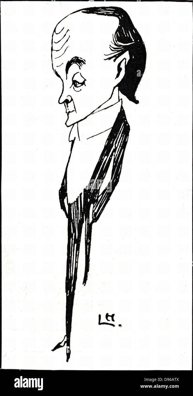 Max Beerbohm (1872-1956) British writer and caricaturist. One novel, 'Zuleika Dobson' (1912). Caricature - Stock Image