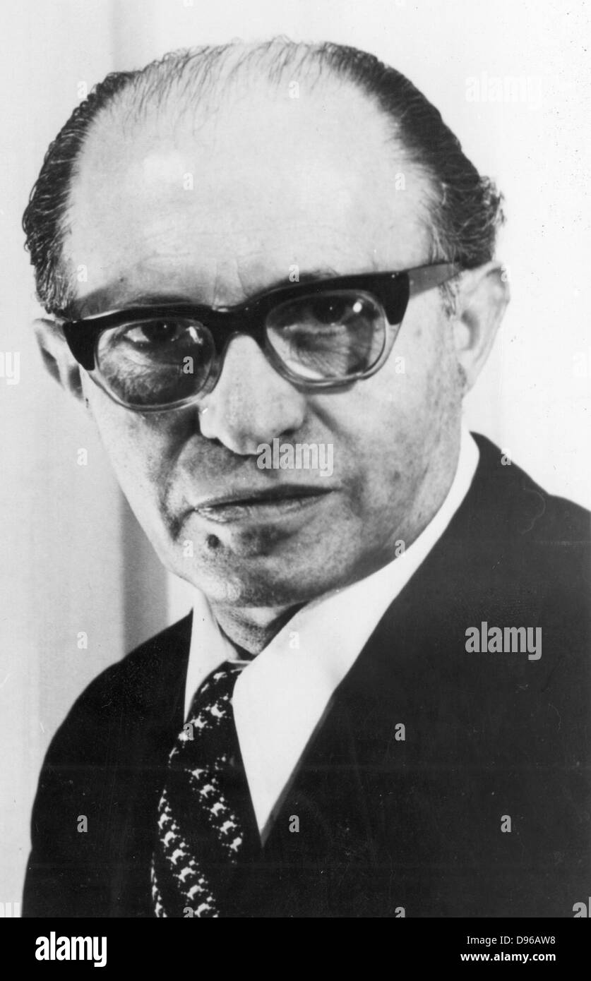 Menachem Begin (1913-1992) Polish-born Israeli statesman; shared Nobel peace prize with Sadat (1973). Photograph - Stock Image