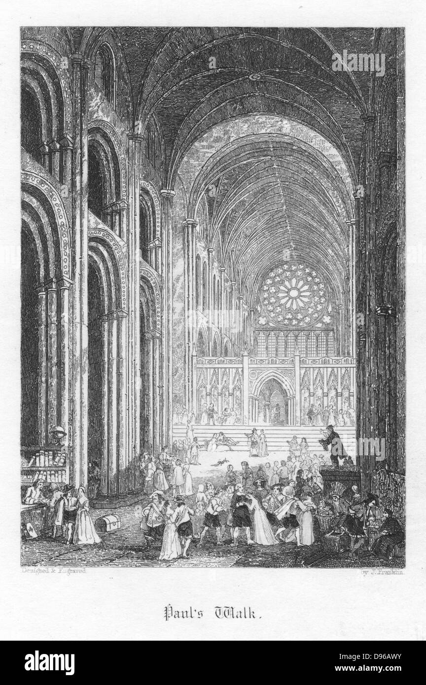 Paul's Walk: the nave of Old Saint Paul's turned into a market place. Illustration by John Franklin (active - Stock Image