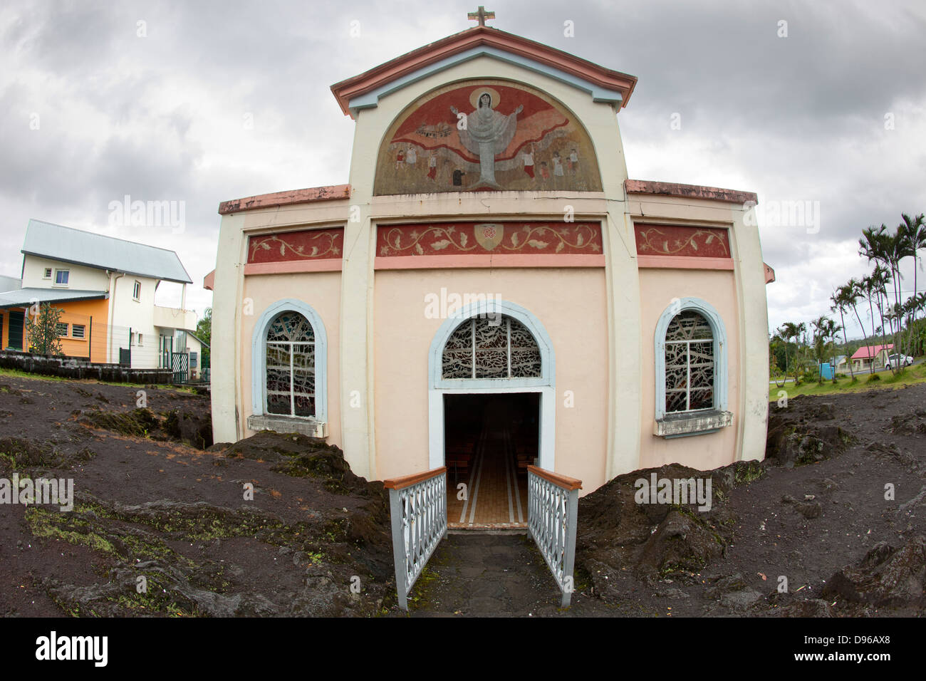 Notre Dame des Laves church on the French island of Reunion. A lava flow 'miraculously' stopped on its doorstep. - Stock Image