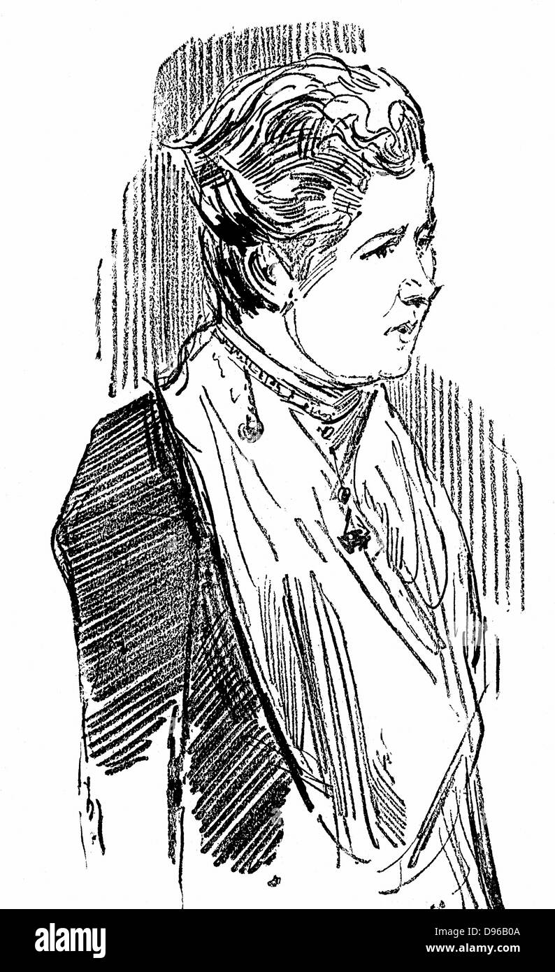 Annie Besant (born  Wood - 1847-1933). British socialist and theosophist. Wood engraving 1890. Stock Photo
