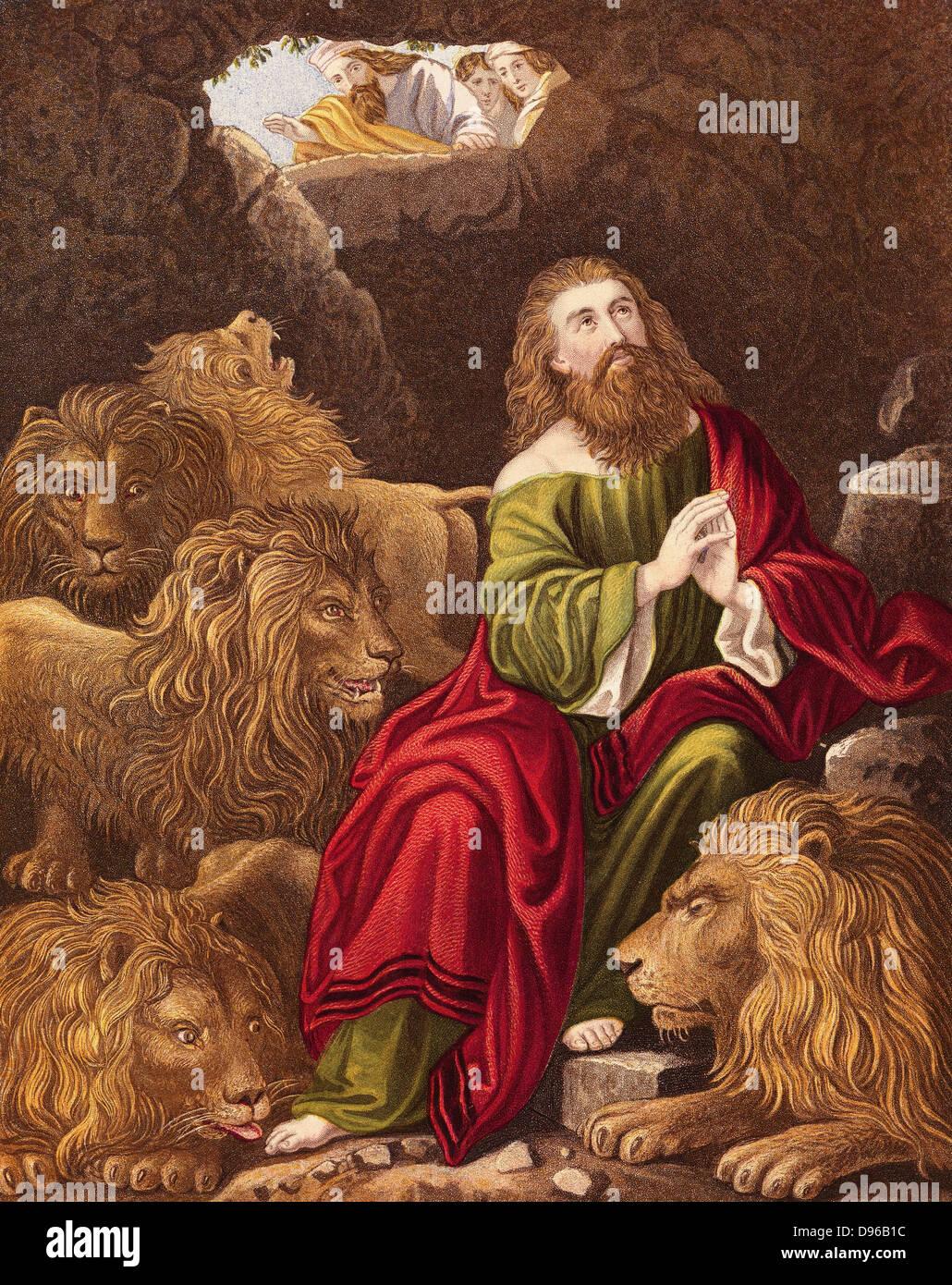 Daniel, one of four great Hebrew prophets, l cast into the Lions' den by Nebuchadnezzar (Nebuchadrezzar) king - Stock Image