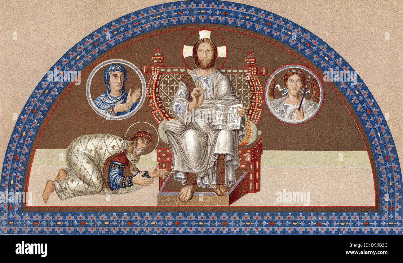Christ enthroned: on left, Leo VI the Philosopher, 865-911, Emperor of the East from 886, kneels at the Saviour's - Stock Image