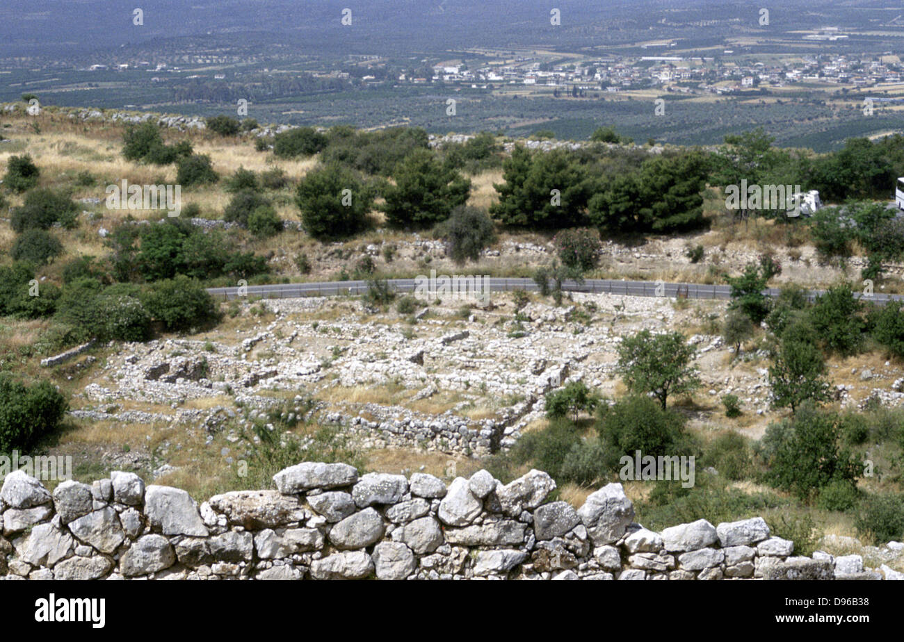 Site of prehistoric Greek city of Mycenea.  Home of Agamemnon and capital of Achaean Greeks c1450-c1100 BC - Stock Image