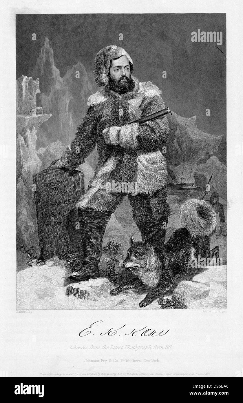 Elisha Kent Kane (1820-57) American naval surgeon and Arctic explorer in polar dress. Kane took part in the Franklin - Stock Image