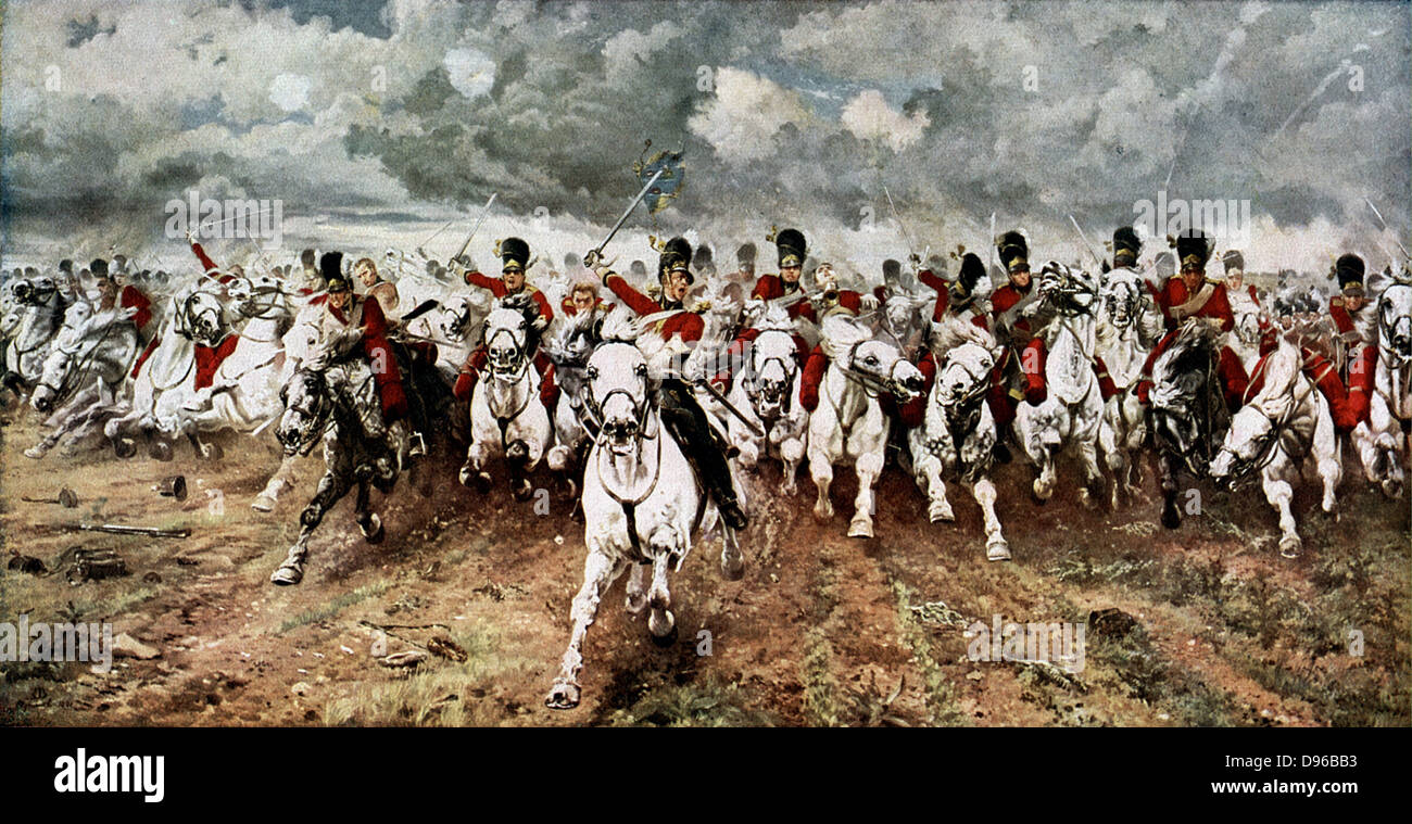 Scotland for Ever'. The charge of the Scots Greys at Waterloo, 18 June 1815. After the painting by Lady Butler. - Stock Image