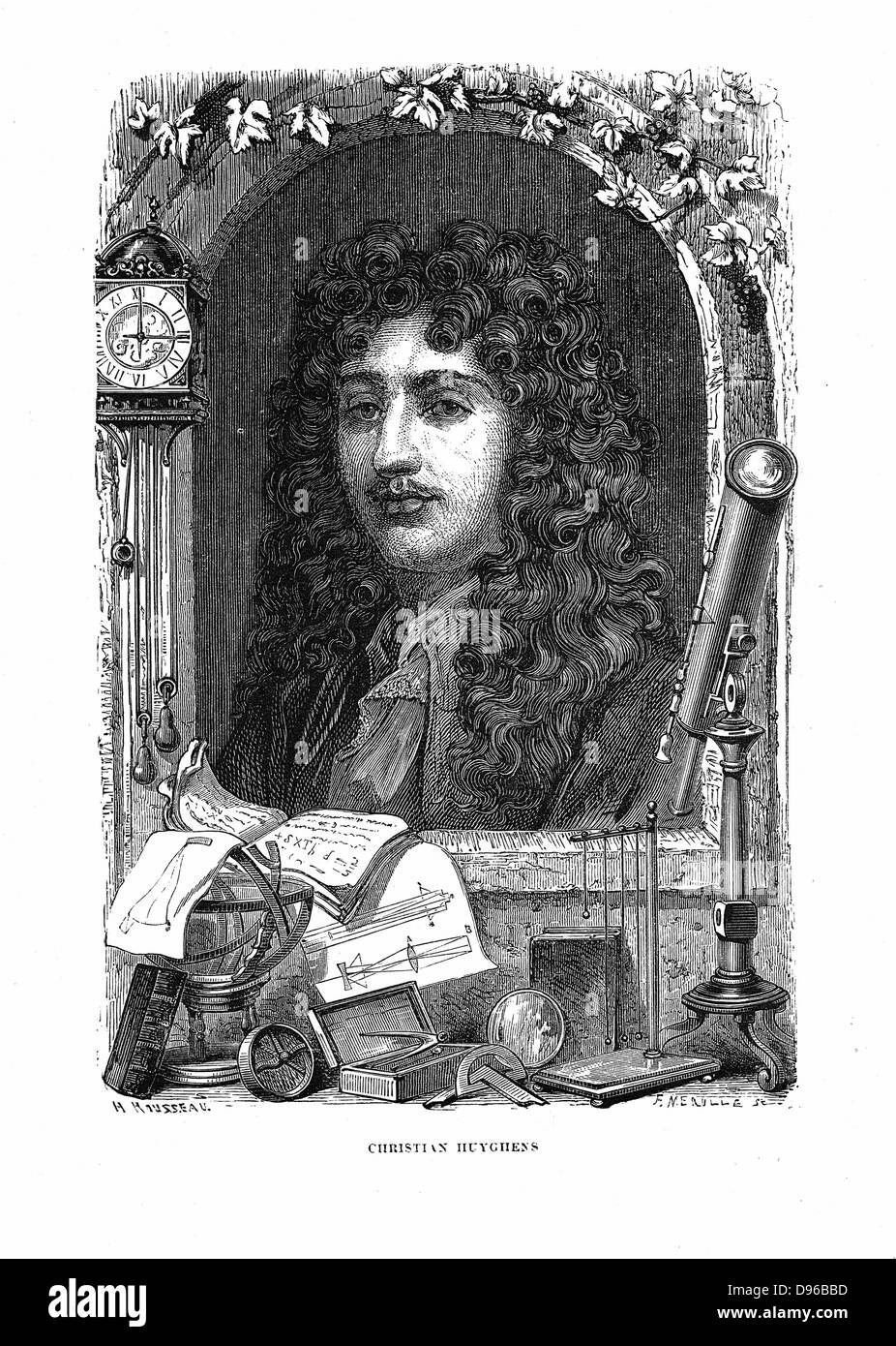 Christiaan Huyghens (1629-1695) Dutch physicist. Pendulum clock: Wave theory of light. Head and shoulders portrait - Stock Image